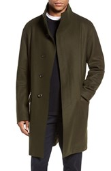 Vince Men's Raw Edge Wool Blend Military Coat Military Green