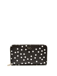 Dolce And Gabbana Polka Dot Print Leather Zip Around Wallet Black White