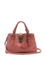 Bottega Veneta Roma Mini Intrecciato Leather Tote Dark Pink