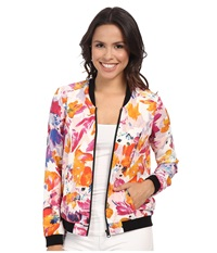 Nydj Tropical Floral Print Bomber Tropical Floral Women's Coat Multi