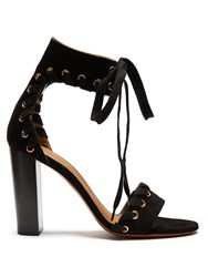 Chloe Miles Lace Up Suede Sandals Black