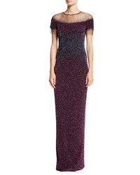 Pamella Roland Short Sleeve Crunchy Sequin Ombre Gown Silver