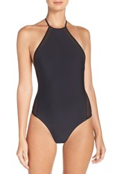 Issa De Mar Women's De' 'Brooklyn' Print One Piece Swimsuit Black Mesh