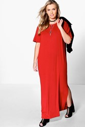 Boohoo Elisa T Shirt Maxi Dress Rust