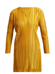Pleats Please Issey Miyake Pleated Notched Neck Tunic Top Yellow