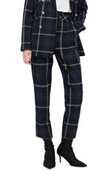 Topshop Check Belted Trousers Purple Multi