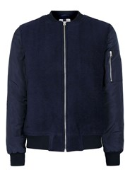 Topman Blue Navy Bomber Jacket Containing Wool