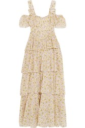 Alexachung Cold Shoulder Tiered Floral Print Cotton Voile Dress Off White