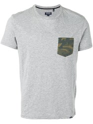 Woolrich T Shirt With Camouflage Pocket Men Cotton M Grey