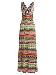 Missoni Deep V Neck Crochet Knit Gown Cream Multi