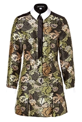 Ostwald Helgason Silk Printed Dress In Green