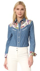 Roberto Cavalli Denim Button Down Blu Scuro