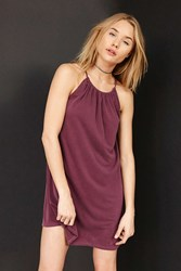 Silence And Noise Shirred High Neck Swing Mini Dress Maroon