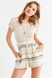 Urban Outfitters Uo Striped Paperbag Short Neutral Multi