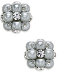 Charter Club Imitation Pearl And Crystal Cluster Earrings Only At Macy's Gray