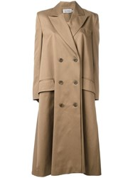 Preen By Thornton Bregazzi Peaked Lapel Double Breasted Coat Brown
