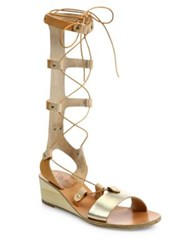 Ancient Greek Sandals Thebes Metallic Leather Tall Gladiator Wedge Sandals Natural Platinum