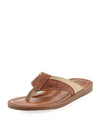 Tommy Bahama Anchors Astern Leather Flat Thong Sandal Brown