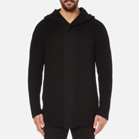 Helmut Lang Men's Wool Blend Heavy Rib Cardigan Black