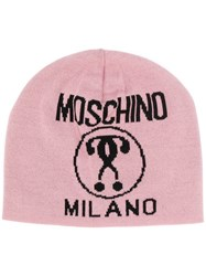 Moschino Double Question Mark Print Beanie Pink