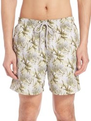 Saks Fifth Avenue Palm Leaf Swim Trunks Grey