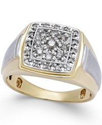 Macy's Men's Diamond Two Tone Ring 1 2 Ct. T.W. In 10K Gold And White Gold Two Tone