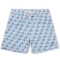 Pink House Mustique Mid Length Shark Print Swim Shorts Navy