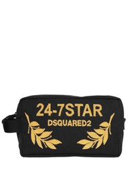 Dsquared Logo Embroidered Canvas Toiletry Bag