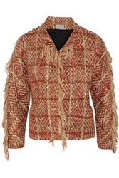 Maiyet Fringed Boucle Tweed Jacket Red