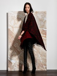 Shanghai Tang Ikat Cover Up Wool Cashmere Jacquard Cape Red