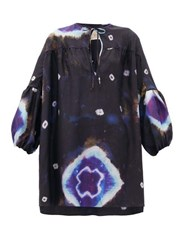 By Walid Abigail Tie Dye Raw Silk Tunic Top Navy Multi