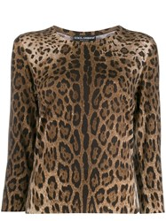Dolce And Gabbana Leopard Pattern Jumper Brown