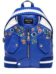 Moschino Bomber Embroidered Leather Backpack