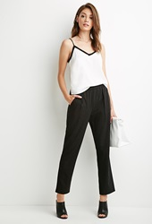 Forever 21 Tapered Pinstripe Pants Black White