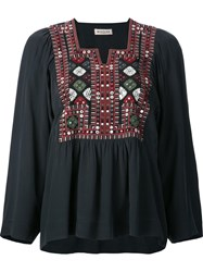 Masscob Geometric Embroidery Blouse Black