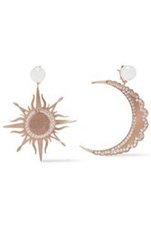 Aamaya By Priyanka Woman Rose Gold Plated Sterling Silver Faux Pearl And Crystal Earrings Rose Gold