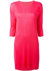 Issey Miyake Pleats Please By Pleated Shift Dress Women Polyester 3 Pink Purple