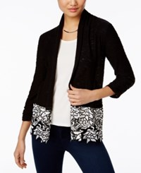 Inc International Concepts Open Front Lace Trim Cardigan Only At Macy's Deep Black