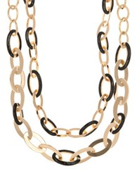 Anne Klein Two Tone Chain Link Choker Necklace Black
