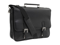 Kenneth Cole Reaction A Brief History 5 Double Gusset Flapover Portfolio Black Nappa Lea Briefcase Bags