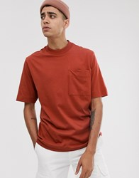 Asos White Loose Fit T Shirt In Burnt Henna Red