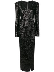 Balmain Sequin Wrap Maxi Dress Black
