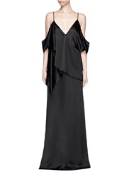 Givenchy Ruffle Cold Shoulder Wrap Front Gown Black