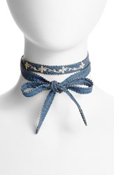 Chan Luu Women's Beaded Chiffon Choker Denim