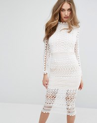 Missguided High Neck Structured Lace Midi Dress White