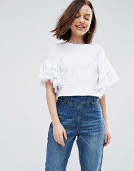 Asos Crop T Shirt With Ruffle Sleeve White