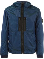 Stone Island Zipped Hooded Jacket Blue