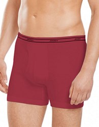 Jockey 4 Pack Stay New Low Rise Knit Boxer Briefs Red Assorted