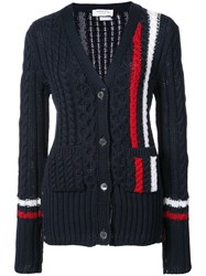 Thom Browne Aran Cable V Neck Cardigan With Vertical Intarsia Stripe In Navy Fine Merino Wool Wool Blue