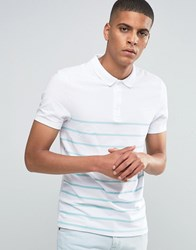 Asos Muscle Breton Stripe Polo Shirt In Green White